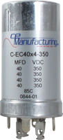 Picture of CE Mfg. 350V 4x 40uF 35x65mm Multisection Can Capacitor