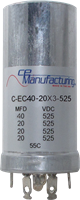 Picture of CE Mfg. 525V 40/20/20/20µF 35x65mm Multisection Can Capacitor