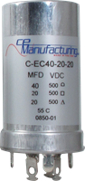 Picture of CE Mfg. 500V 40/20/20µF 35x65mm Multisection Can Capacitor