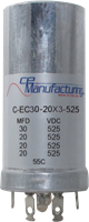 Picture of CE Mfg. 525V 30/20/20/20µF 35x90mm Multisection Can Capacitor Genuine replacement for DYNACO ST-70