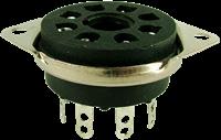 Picture of Socket - 8 Pin Octal, Saddle Plate, Black, Bottom Mount
